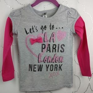 Beautees girls  pink and gray graphic tee